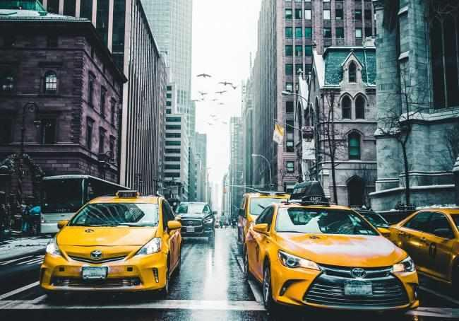 NYC Taxi's on Streets of New York.