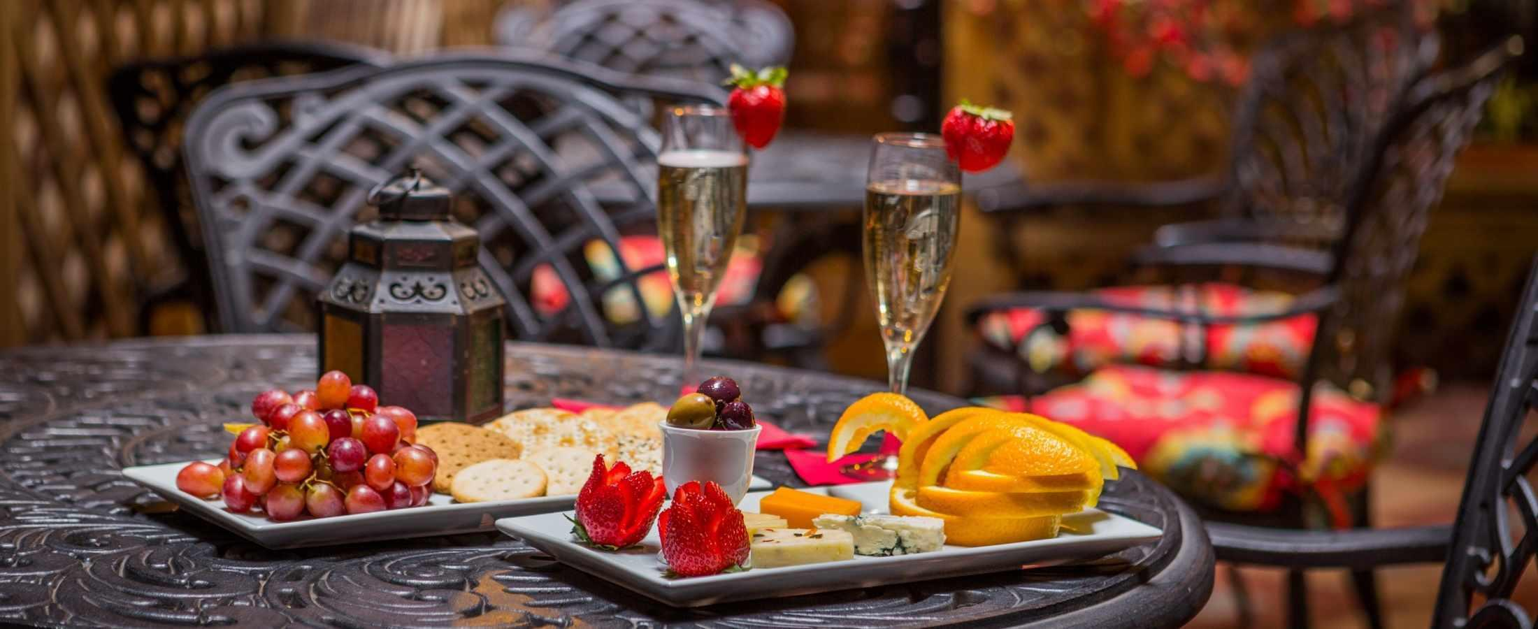 Guests are invited to enjoy our complimentary Wine & Cheese Reception in our Blue Parrot Courtyard!
