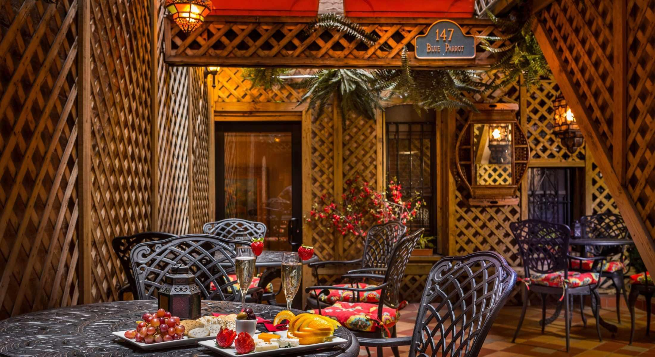 On warmer days, guests are invited to enjoy our complimentary Wine & Cheese Reception in our Blue Parrot Courtyard!