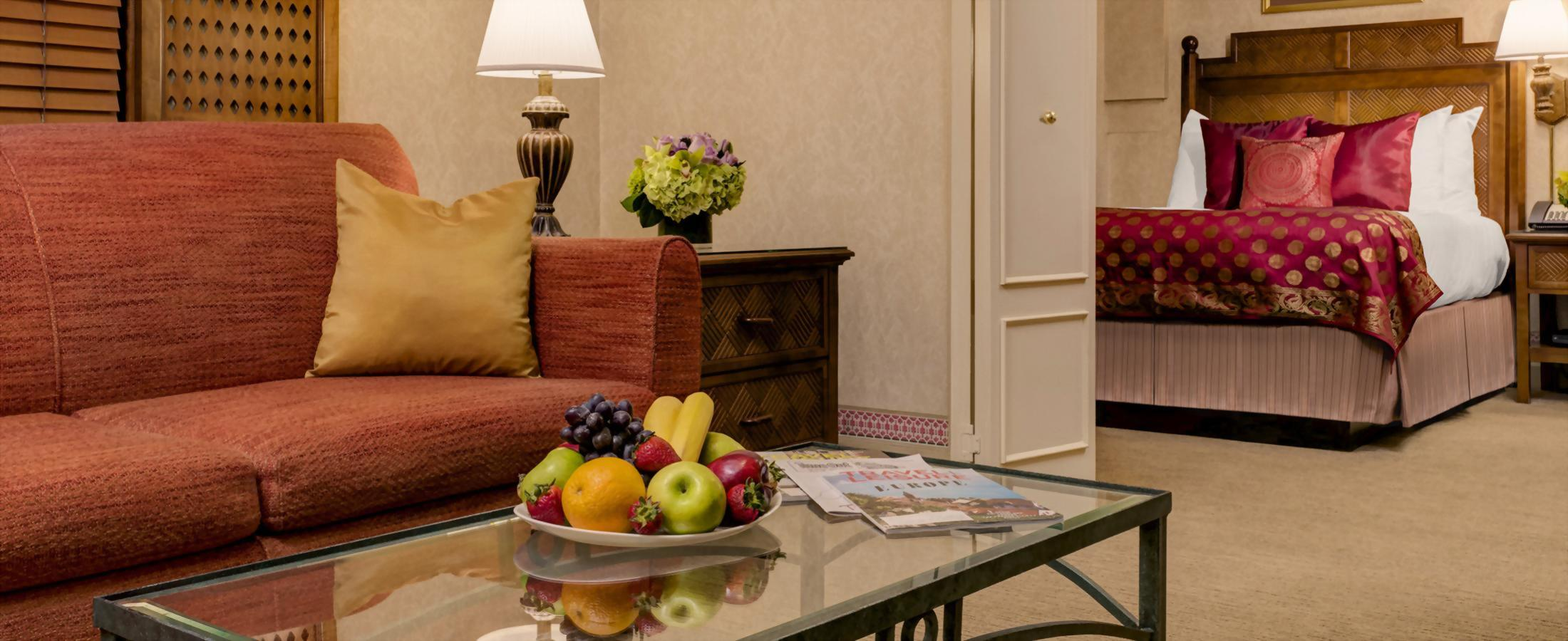 The mini suite at the Casablanca has two rooms separated by french doors.